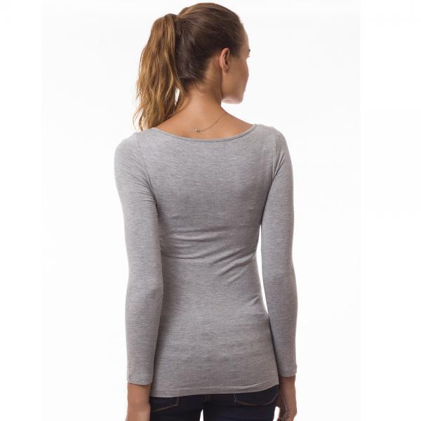 Top grossesse et allaitement manches longues col bénitier gris-4775
