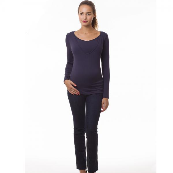 Top grossesse et allaitement manches longues col V bleu marine-0