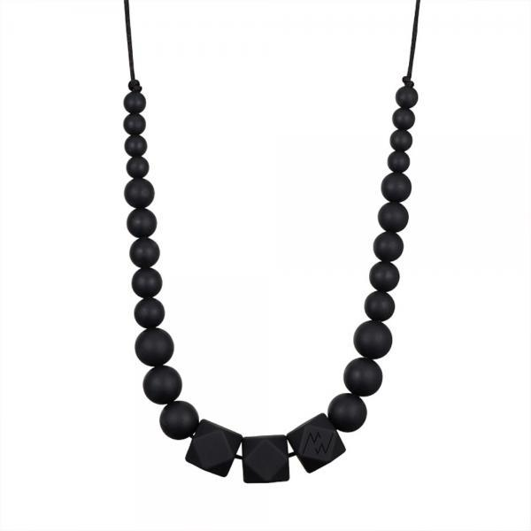 Collier d'allaitement chic perles noires -0