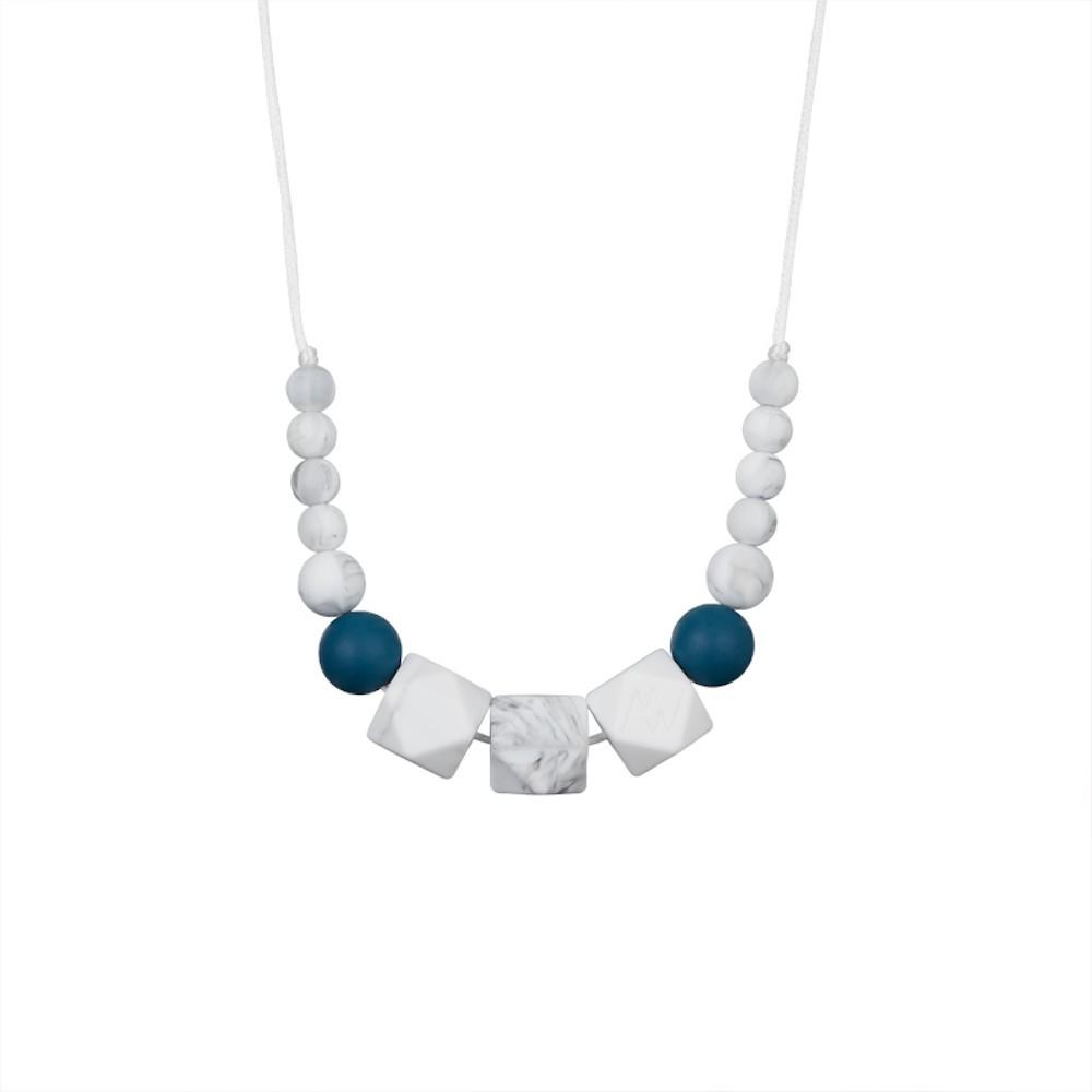 Collier d'allaitement perles bleu pétrole et marbre blanc-0