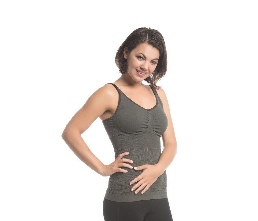 Charcoal Fusion Nursing Tank_Model_Front_Full Body_44