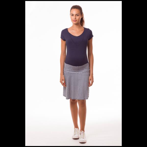 Jupe de grossesse imprimé géométrique marine et blanc -5195