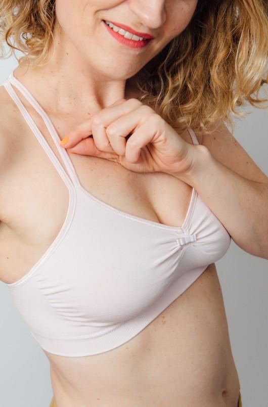 Brassière de grossesse et d'allaitement rose pétale Cache Coeur